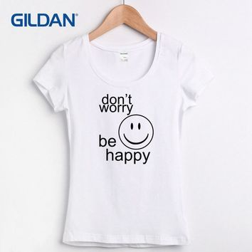 Novelty Dont Worry Be Happy Bob Marley 100% cotton tee shirts O Neck women's t-shirt cool fashion tshirt women Tops female
