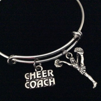 Cheer Coach with Cheerleader Expandable Silver Charm Bracelet Adjustable Wire Bangle Handmade Gift Trendy Stacking Bangles