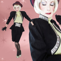 Vintage Bolero & Peplum Skirt Suit - Iconic 80s Outfit - SML