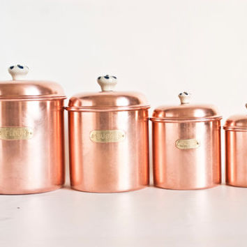 Vintage Solid Copper Canister Set, Nesting Metal Kitchen Canisters Brass Labels Porcelain Handles, Flour Sugar Coffee Dry Goods Containers