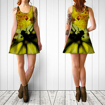 Abstract Butterfly Dress - Spring fashion, limited edition flared wearable art, couture, art dress, yellow, green, flowers, gifts for her