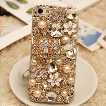 Elegant Flower Lock bag Pure White Pearl Shell Crystal Rhinestone Diamond Clear Case Hard Cover for Samsung Galaxy A7 A5 A3 E7