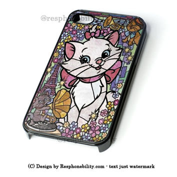 Marie Cat Disney'S The Aristocats Stained Glass iPhone 4 4S 5 5S 5C 6 6 Plus Case , iPod 4 5 Case , Samsung Galaxy S3 S4 S5 Note 3 Note 4 Case , and HTC One X M7 M8 Case