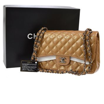 Auth CHANEL Quilted CC Double Flap Chain Shoulder Bag Brown Patent VTG JT04925