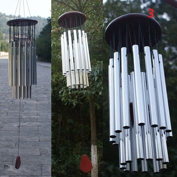 27 Tubes Silver Bronze Bells Church Wind Chimes Hanging Garden Decorations LON