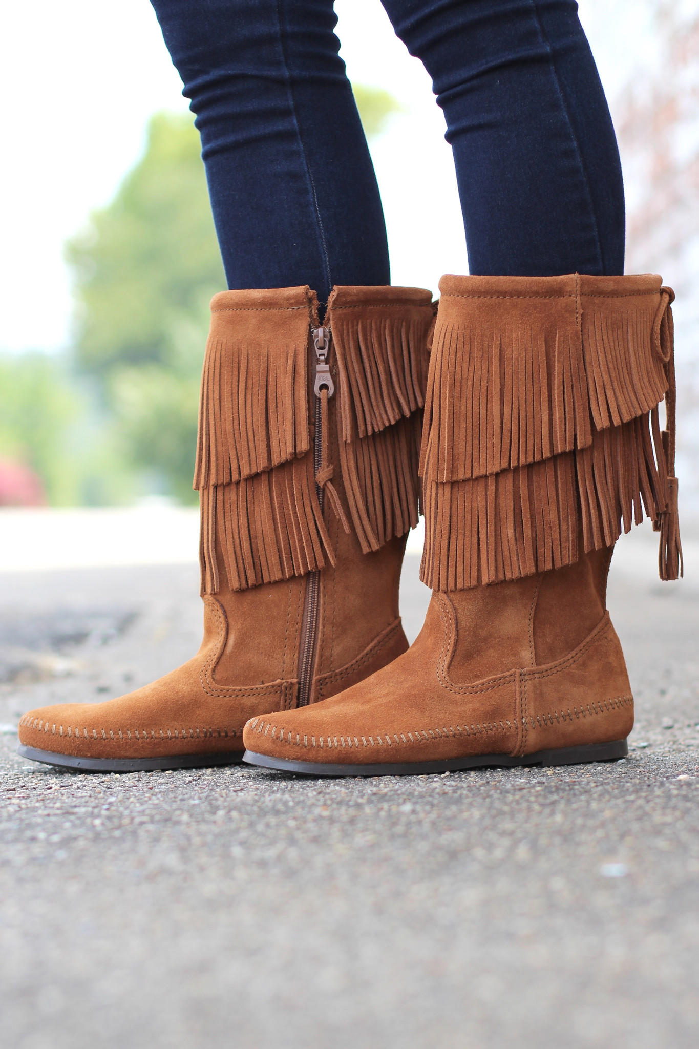 Minnetonka: 2-Layer Fringe Boot {Brown} from The Fair Lady