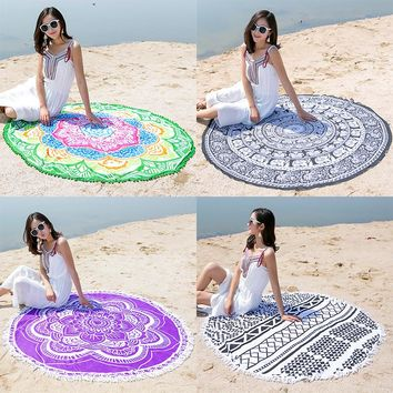 Chiffon Round Tapestry-Style Beach Blanket or Yoga Throw Mat