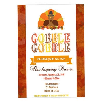 Thanksgiving Invitations - Thanksgiving Party Invite - Thanksgiving Dinner Invitation - Gobble Turkey Invitations - Adult Thanksgiving Party