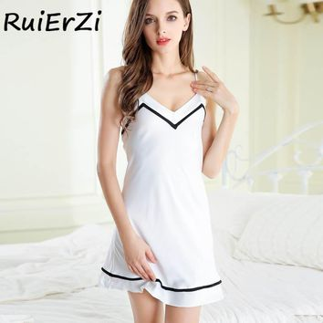 Sexy Summer Nightwear Women V-Neck Striped Print Trim Drawstring Chemise Nightgown Full Slips Sleepwear Nightdress Mini Dress