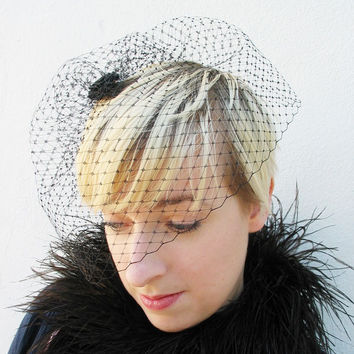 Wedding Veil, Blusher Veil, Black Birdcage Veil, Clip, Comb, Hair Accessory, Women