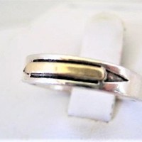 Sterling 14K Gold Band, M. M. Rogers Signed ,Vintage Unisex Eternity Ring,  Ring Size 8