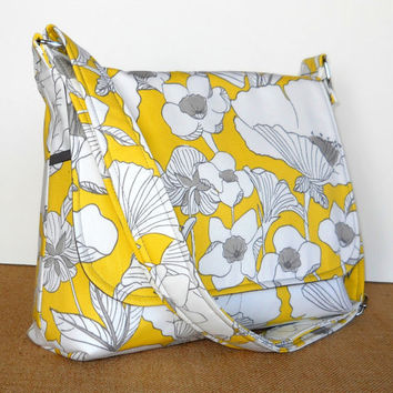 Fabric Cross Body Messenger Purse - Adjustable Strap - Lemon Yellow with White Poppies