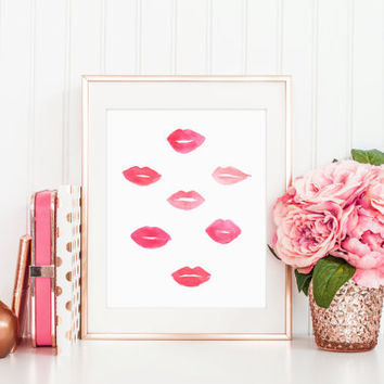 Pink Lips Print, Kiss Print, Vanity Decor, Makeup Print, Beauty Print, Lipstick Art, Vanity Decor, Bathroom Decor, Chic Printable Wall Art
