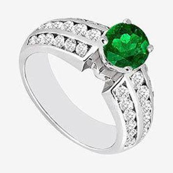 Natural Emerald and Diamond Engagement Ring 1.10 Carat TGW in 14K White Gold