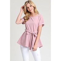 Short Sleeve Sash Top - Rose