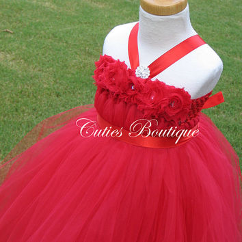 Red Flower Girl Dress Wedding Dress Birthday Holiday Picture Prop 3, 6, 9, 12, 18, 24 Month, 2T, 3T,4T 5T 6T Coral Flower Girl Tutu Dress