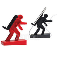 Smart Porter man Stand Holder Wire Cable cilp for Iphone Ipod Mobile cell phone