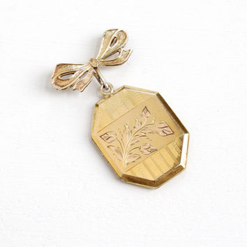 Antique Floral Locket Bow Pin - Vintage Gold Filled 1930s 1940s Brooch With Original Photographs Art Deco Era Jewelry