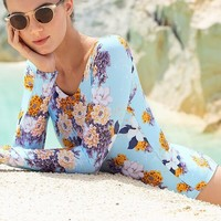 TOUCHÉ Floral Bleu Long Sleeve One Piece