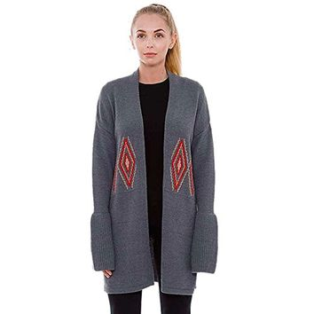 Gray Long Aztec Cardigan
