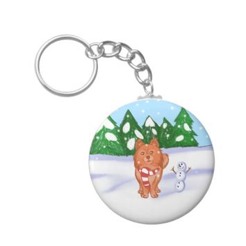Snow Puppy Keychain
