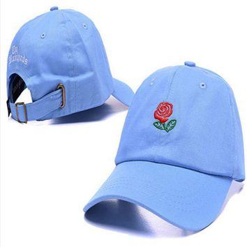 ESBONPR Sky Blue The Hundreds Rose Embroidered Unisex Adjustable Cotton Sports Cap Hat