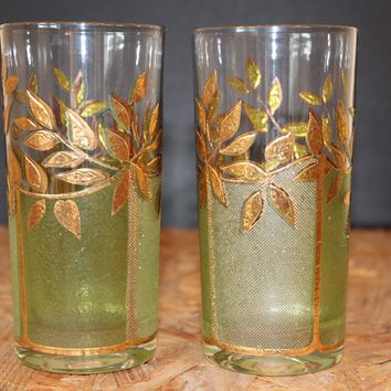 Culver  Green and Gold Tumbler Glasses, Pair