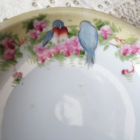Small Hand Painted Nippon China Dish with Blue Birds and Flowers. Jewelry Dish. Candy Dish, Soap Dish, Trinket Dish.  Shabby Chic Antique.