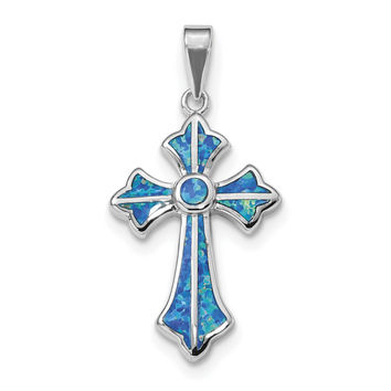 Sterling Silver Rhodium-plated Blue Inlay Created Opal Cross Pendant QP4880