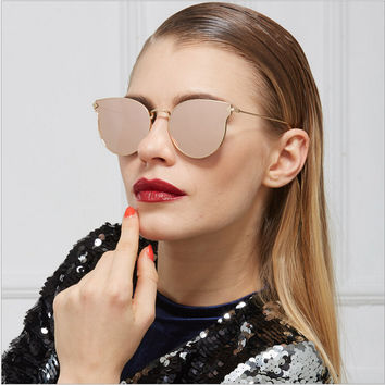 JinCool Cat Eye Fashion Brand Sunglass Men 2016 Vintage Sunglasses Women Designer Metal Mirrored Sun Glasses Oculos de sol S1004