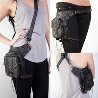 DCCKFS2 New Women MEN Rock Leather Steampunk Skull Bag Steam Punk Retro Rock Gothic Shoulder Waist Bags Packs Victorian