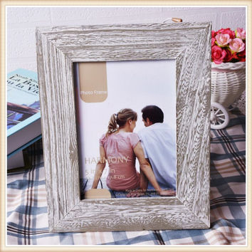 European style retro frame decoration Creative 6/7/8 inch solid wood photo frame Photo studio props decoration home craft decor