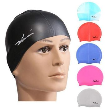 DCCK7N3 Swimming Caps Waterdrop Silicon Unisex Adult Waterproof Swimming Cap Cover Protect Ear