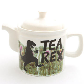 Tea Rex Teapot, t-rex dinosaur, large tea pot, ceramic teapot kiln fired holds 4 to 6 cups , upcycled , arthur wood teapot , english tea