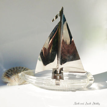 Vintage Glass Ashtray Sailboat with Chrome Sail Seaside Inspired Nautical Decor