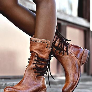 New Brown Round Toe Chunky Rivet Cross Strap Fashion Ankle Boots