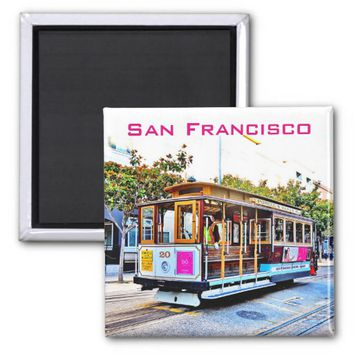 2 INCH SQUARE SAN FRANCISCO CABLE CAR MAGNET