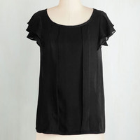 ModCloth Mid-length Short Sleeves Time of Your Lively Top in Black
