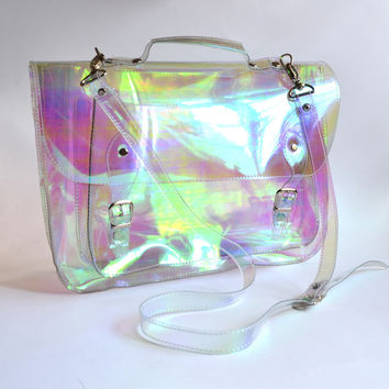 Large bag #3 Holographic Vinyl Plastic Satchel crossbody strap | Golden Ponies