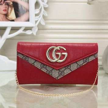 Kalete GUCCI Women Leather With Metal Chain Purse Wallet H-MYJSY-BB