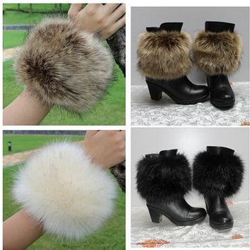 2015 autumn and winter women's fashion faux fox fur thermal gloves fox fur hand ring wristiest boot covers fur sleeve cuff