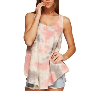 Coral and Grey Tie Dye Tank