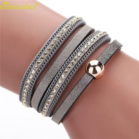 Summer Bohemian Braided PU Leather Bracelet Rhinestone Cuff Wrap Bangle Magnetic Clasp