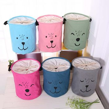 Cotton Linen Large Laundry Basket Foldable Dirty Clothes Storage Hamper Baby Kids Room Toys Organizer Sundries Storage Bin