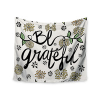 """Pom Graphic Design """"Be Grateful"""" Typography Nature Wall Tapestry"""