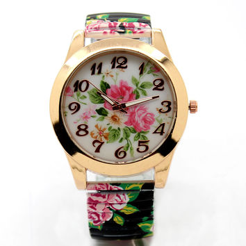 Fashion Flower Round Dial  Flexible stretch Band watch Quartz