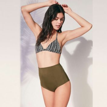Hot bottom army green halter high waist two piece bikini