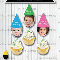 Personalized Cupcake Topper, Photo, Custom, Your Photo here, Text, Birthday, Going Away, Promotion, Name, Celebration, Kids,Party Decoration