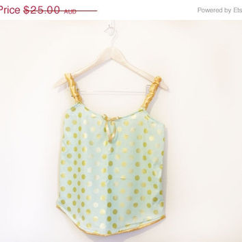 ON SALE NEW! Mix n Match Women's 1920's Mint and Gold Polka Dot Sleep Top Size Xs Pyjamas Pijama Ladies Boxer Sleepwear Pajamas Lingerie Pj'