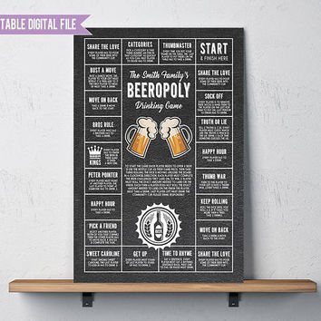 Gifts for dad, Beer game, Beeropoly, Beer Decor, gifts for him, drinking game printable, beer printable, personalized beer game, Man Cave,